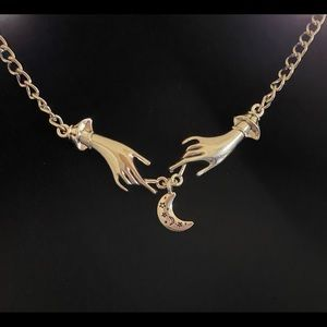 Mystical Hands With Crescent Moon Necklace